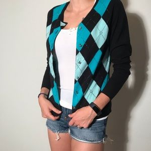 Argyle Cardigan with Detailed Buttons
